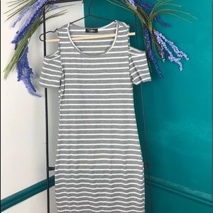Grey and white striped bodycon cold shoulder dress